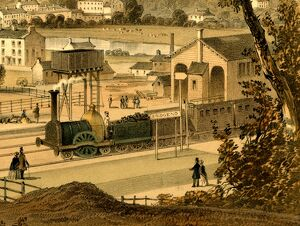 Close up view of broad gauge train at Bridgend Station, c.1850