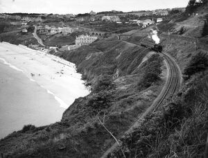 Locomotive at Carbis Bay in Cornwall, 1950s