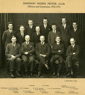 Swindon Works Motor Club committee members, 1932-33