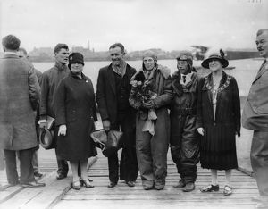 Amelia Earhart at Southampton in 1928 with Stultz and Gordon.