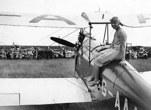 Amy Johnson with her De Havilland Gipsy Moth Jason