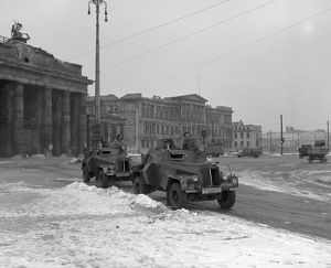 RAF armoured cars at the Brandenburg Gate