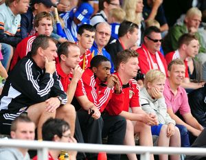 Bristol City Captain, Louis Carey and Bristol City's Marlon Jackson sit with the fans