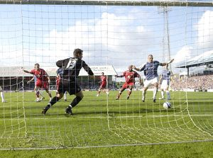 Bristol City Flash the ball accross the cardiff goal