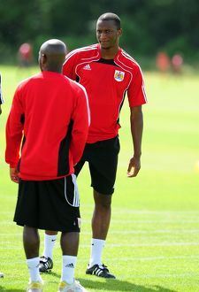 Bristol City New signing Kalifa Cisse watches training with teammate Bristol City's