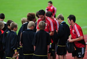Bristol City players sign autographs