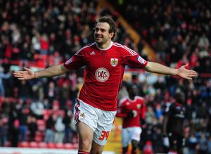 Bristol City's Brett Pitman Celebrates scoring the opening goal - Photo mandatory