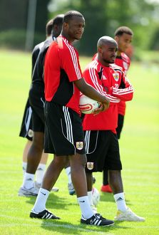 Bristol City's New Signing Kalifa Cisse with new temmate Bristol City's Jamal