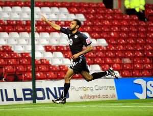 Danny Haynes celebrates after equalising