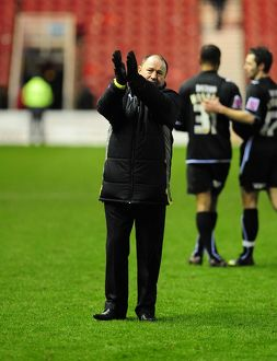 Manager Gary Johnson thanks the travelling fans