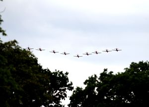 Red arrows fly over EBB stadium