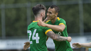 Bamber Bridge v PNE, Sean Maguire and Graham Burke, Green kit, Goal Celebration