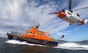 Barra severn class lifeboat Edna Windsor and a coastguard helico