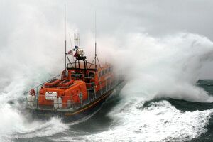 Poole Tyne class lifeboat City of Sheffield 47-023 in rough seas.