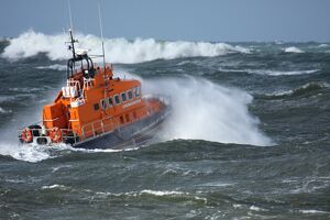 Portrush trent class lifeboat Dora Foster Mcdougall 14-24 moving from left to right in heavy seas