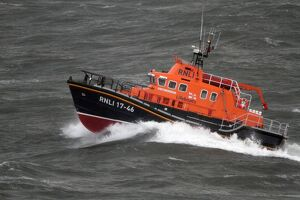 Relief severn class lifeboat Margaret Joan and Fred Nye in rough seas