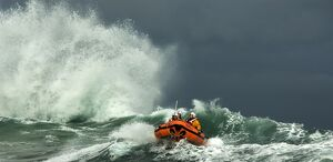 St Ives D-class inshore lifeboat in rough seas