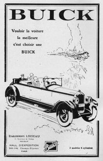 Advert for Buick automobiles, 1928, Paris
