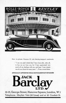 Advert for Jack Barclay & Rolls-Royce, 1930s