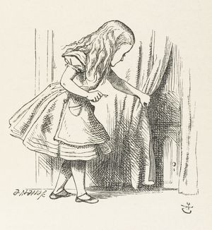 ALICE PULLS CURTAIN
