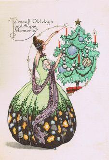 Art deco illustration for Christmas Card, 1920s
