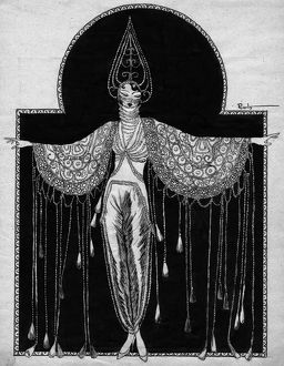 Art deco illustration for showgirl entitled 'Pearls', 1920s