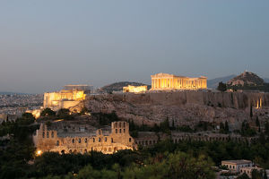 Athens. Panoramic view of the Acropolis at night