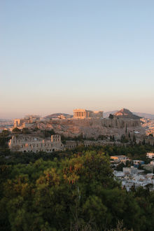 Athens. Panoramic view of the Acropolis. Sunset