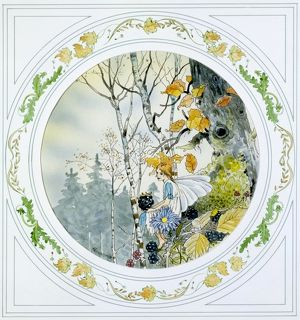 Autumnal Scene with Fairy & Blackberries