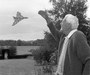 An Avro Vulcan B2 gives a birthday salute to Barnes Wallace