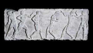 Base of a funerary kouros with six athletes.