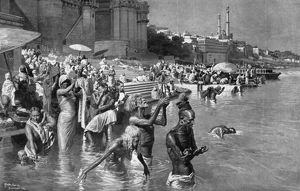Bathing at the River Ganges, 1912