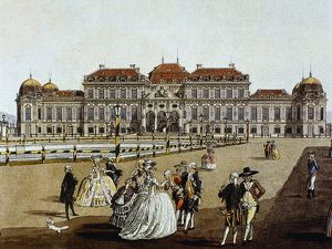 belvedere palace vienna austria engraving colored