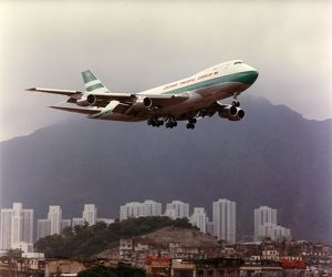 Boeing 747 of Cathay Pacific over Kai Tak Airport, Hong Kong