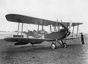 British BE2C biplane on an airfield, WW1
