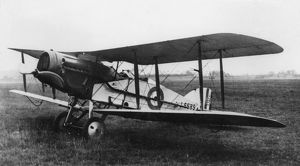 British Bristol fighter biplane on an airfield, WW1