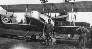British Vickers FB5 biplane on an airfield, WW1
