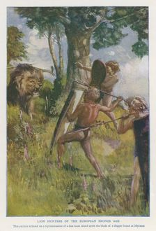 Bronze Age hunters with a lion