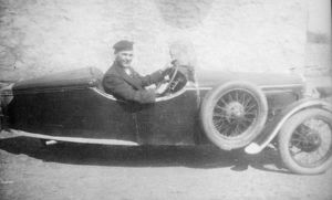 BSA three wheeler sports car and driver, South Wales