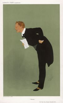 Cartoon of Winston Churchill, British statesman