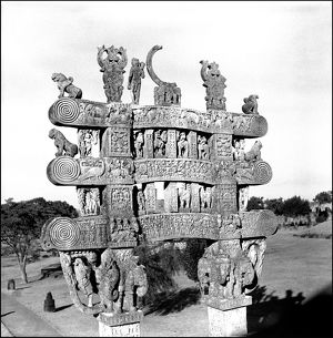 Carved gateway to Stupa at Sanchi, Central India