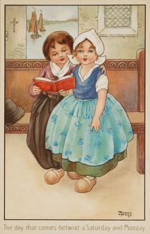 Two Children in a Church by Florence Hardy