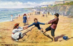 Children playing on a sandy beach