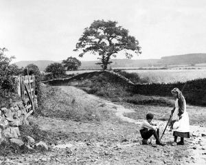 Children on a road near Hexham, Northumberland