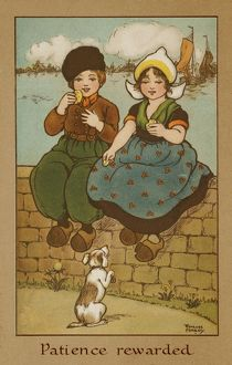 Two children on a wall by Florence Hardy