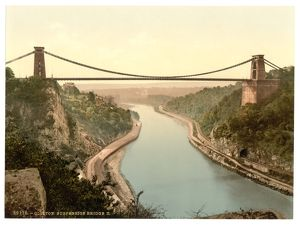 Clifton suspension bridge from the cliffs, Bristol, England