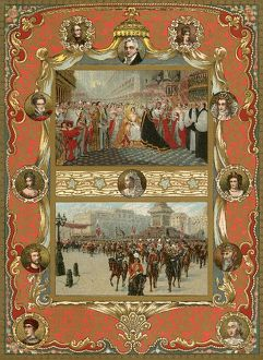 Colour plate showing the coronation of Queen Victoria.