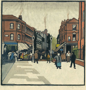 florence mary anderson/colour woodcut print