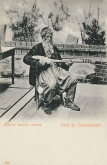 new images grenville collins collection/comic musician istanbul turkey playing setar