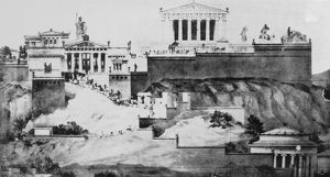 Conjectural restoration of the Acropolis, Athens, Greece